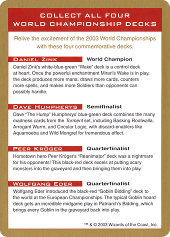 2003 World Championships Ad Card image