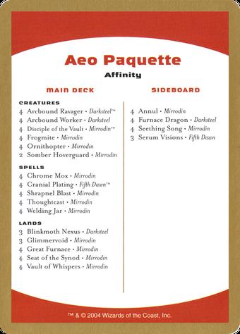 Aeo Paquette Decklist Card image