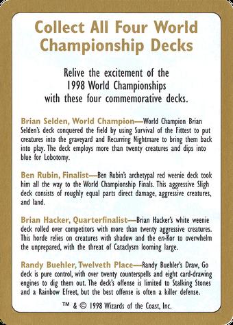 1998 World Championships Ad Card image