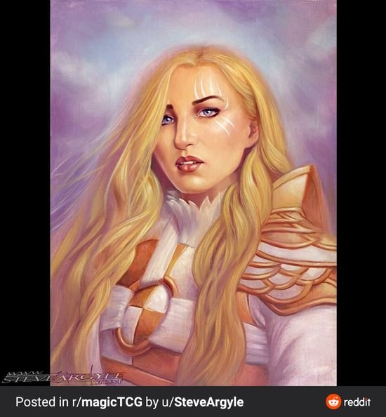 Magic: The Gathering artist paints a picture of Fanny in Serra, the Benevolent cosplay